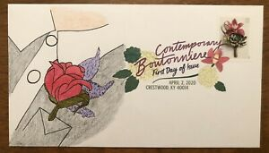 Contemporary Boutonniere 2020 FDC First Day Cover Hand Drawn Cachet DCP