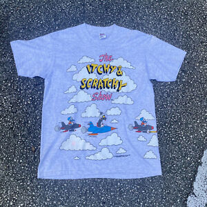 Vtg Rare 1993 The Itchy And Scratchy Show Simpsons All Over Print T-Shirt Size L