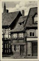 Wernigerode im Harz DDR Postkarte 1953 Straßenpartie Blick auf das kleinste Haus