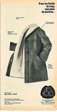 PUBLICITE ADVERTISING  1965   CCC  vetements un manteau 3/4 en peau de mouton