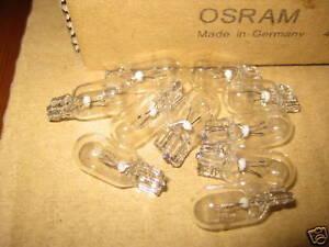 12 VOLT 12v T10 5w 501 OSRAM QUALITY CAR AUTO CAPLESS WEDGE BULB LAMP 10mm (x10)