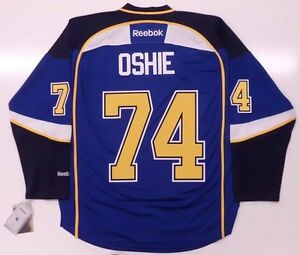 T.J. OSHIE ST. LOUIS BLUES REEBOK PREMIER HOME JERSEY NEW WITH TAGS