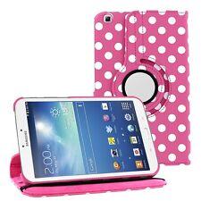 "Hot Pink Polka Dot Leather 360 Rotating Case Cover Samsung Galaxy Tab 3 8"" P8200"