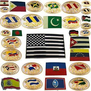 Flag Belt Buckles Men Unisex Metal Silver Gold Women North South America Us New