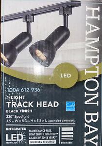 Hampton Bay 1-Light LED Dimmable Spotlight Linear Track Lighting Head Black A003