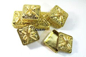 12 Gold Trinket Square Party Favors Gift Wedding Jewelry Keepsake Container