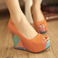 Womens Fashion Open Peep Toe Wedge High Heel Pumps Shoes AU 3.5-7.5 D386