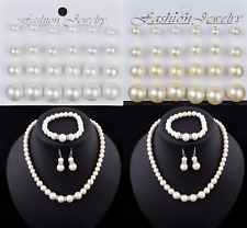 Pearl Earrings, Bracelet, Necklace Set Cream White Girls Ladies Party