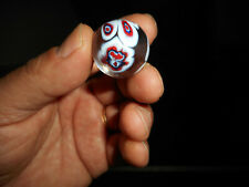 """Hand Blown Art Glass Marble Psychedelic Millefiore RED WHITE & BLUE 1"""" SHOOTER"""