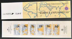 """LOT DE 3 CARNETS Timbres France Année 1988 - Neufs** """"Marins et Explorateurs"""""""
