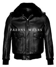 A2 Flight Bomber Pilot Police Jacket Genuine Leather Removable Fur Collar Jacket