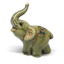 Ceramic Elephant Figurine Feng Shui Craft Miniature Lucky Wealth Statue Gray