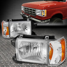 FOR 87-91 FORD F150 F250 BRONCO CHROME HOUSING AMBER CORNER HEADLIGHT HEAD LAMPS
