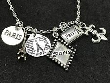 "Paris France Mix A Charm Tibetan Silver 18"" Necklace D160A"