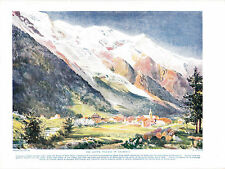 The Alpine Village of Chamonix, France. Antique Print circa 1916.