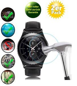 2x Samsung Gear S2 Schutzglas 9H Panzerfole Echtglas Display Schutz Uhr Watch