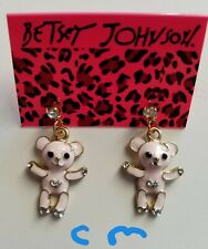 Betsey Johnson Lovely Pink Enamel Girl Heart Bear Crystal Stand Earrings