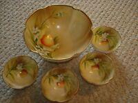 Nippon hand painted large nut bowl dishes orange fruit design white flowers leaf