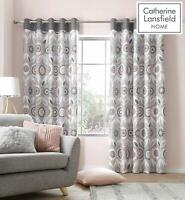 Catherine Lansfield Annika Floral Downstairs Fully Lined Eyelet Curtains Blush