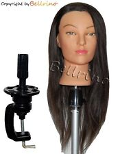 NEW 24 Cosmetology Mannequin Manikin Training Head with Human Hair Clamp Holder