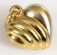 14K WHITE & YELLOW GOLD FINE FASHION PUFFY HEART PENDANT TWO TONE ITALY !