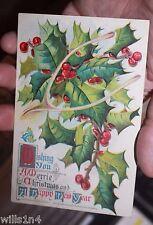 1910 era  Embossed Christmas Postcard holly berries wishbone Holly Series 3