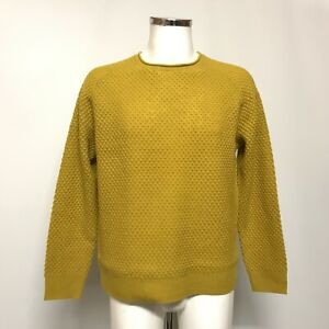 New Whistles Bramble Jumper UK L Men's Mustard Yellow Textured Wool Knit 448511