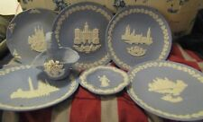 5 Wedgewood Christmas Plates & Little Plate No Marking & A Basket