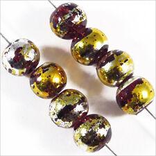 Lot de 50 perles en verre Décorées 6mm Marron