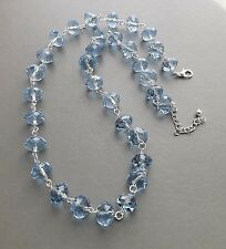 Pale blue chunky glass crystal bead necklace .. faceted statement prom jewelry