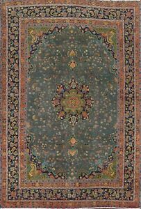 Antique Overdyed Ardakan Floral Oriental Area Rug Handmade Wool Dark Green 8x11