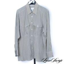 Ascot Chang 100% PURE Silk Cream Degrade Multi Stripe Button Down DR Shirt NR