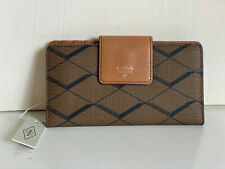 NEW! FOSSIL SYDNEY TAB INDEXER BROWN CLUTCH LEATHER BIFOLD WALLET SALE