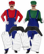 Mario + Luigi Bros 80s Fancy Dress fontanero Workman Outfit 2 X Guantes Y Bigote