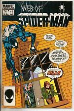 Marvel Comics Web Of Spiderman #12 March 1986 Black Costume VF+