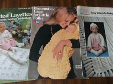 LOT 3 VINTAGE KNIT CROCHET PATTERNS LEAFLETS BABY TODDLERS LAYETTES BOOMSTICK