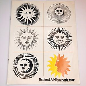 1970 National Airlines Domestic-International Route Map CBS Sunday Morning Suns
