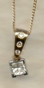 REAL 9ct or 18ct yellow white gold diamond pendants square round cluster + chain