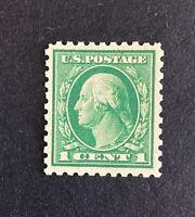 US Stamps, Scott #424 1c Washington 1914 XF+ M/NH. Beautiful centering & balance
