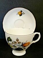 Gainsborough Bone China Cup & Saucer England Yellow White Roses Gold Trim