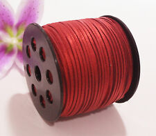 3mm Width Sequins Faux Suede Leather Thong Jewelry Necklace DIY Making Cord Red 10 Yard
