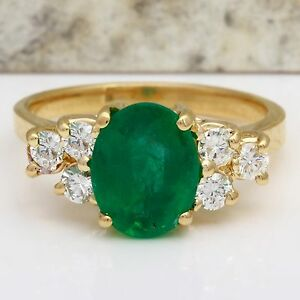 2.25Ct Natural Emerald & Diamond 14K Solid Yellow Gold Ring
