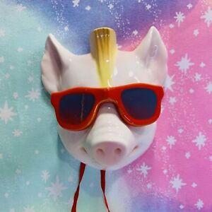1986 Vandor Porcelain Pig With Sunglasses & a Mohawk Decorative Wall Hanging