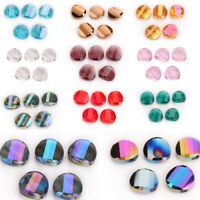 18mm 10pcs Charms Glass Crystal Round Flat Spacer Loose Beads Jewelry Necklace