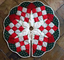 """Vintage 40"""" Quilted Patchwork Christmas Tree Skirt Fiber Filled Red Green Ivory"""