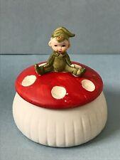 Vintage Elf on Red White Toadstool Mushroom Porcelain Trinket Box w/Lid As Is
