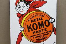 KOMO METAL PASTE AUTO WAX PORCELAIN SIGN GAS OIL CAR FARM  FORD TEXAS MOTOR