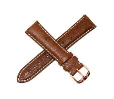 Jacques Lemans 21Mm Genuine Ostrich Leather Watch Band Brown Rose Gold Buckle