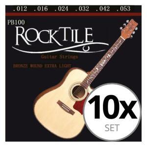 10 pack Cordes de Guitare Acoustique Classique Acier Ball End Light 012-053 Set