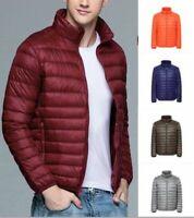 Men Down Jacket Puffer Coat Packable Lightweight Warm Parka Quilted Stand Collar
